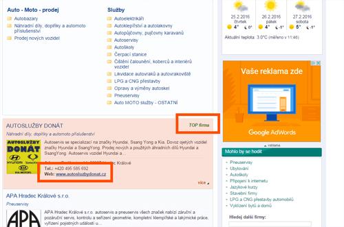 Snímek kategorijí firem na webu hradeckralove.cz